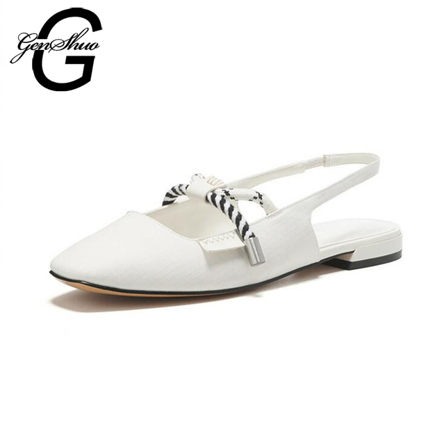 GENSHUO Woman Flat Mules Casual Spring Square Toe Elastic Band Ladies Shoes Slingbacks Flat Sandals White Black Small Size 3.5