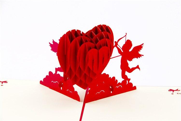 3d pop up сердце Купидона Бумага открытки открытка украшения Валентина подарок на день рождения Бесплатная доставка ...