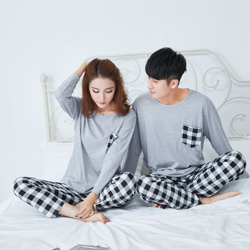 2018 Spring and Autumn New Female Cotton   Pajamas   Winter Couple Long Sleeved Sleepwear Men and Women Homewear Suit   Pajamas     Set