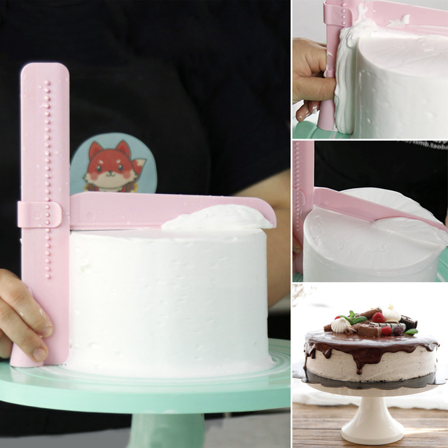 DIY Cake Scraper Smoother Adjustable Fondant Spatulas Cake Edge Smoother Cream Decorating Bakeware Tableware Kitchen Cake Tool