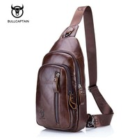 Bullcaptain Fashion Genuine Leather Crossbody Bags men Brand Small Male Shoulder Bag casual music chest bags messenger bag