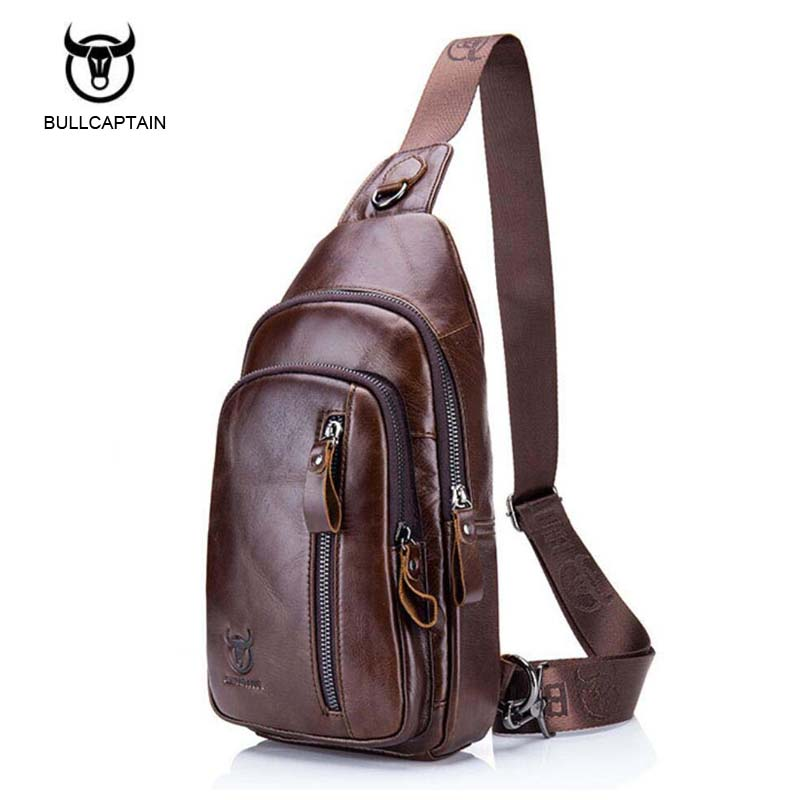 Bullcaptain Fashion Genuine Leather Crossbody Bags men Brand Small Male Shoulder Bag casual music chest bags messenger bag bullcaptain new arrival men chest bag genuine leather men bag brand designer leather messenger bags casual mens crossbody bags