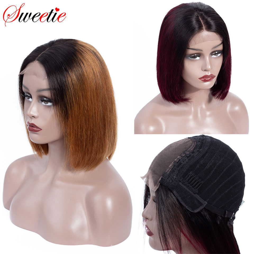 Sweetie 4x4 Short Bob Lace Front Wig 150 Destiny Human Hair Wigs Natural black 1b 99J