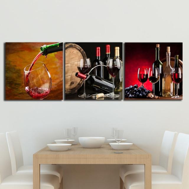 3 Pannelli Uva da Vino Dipinti Per La Cucina Frutta Noci Parete ...