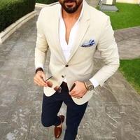 Custom Made Men Suit Beige Blazer Navy Blue Pants 2 Piece Groom Tuxedos Slim Fit Mens Wedding Prom Party Suits (Jacket+Pants)