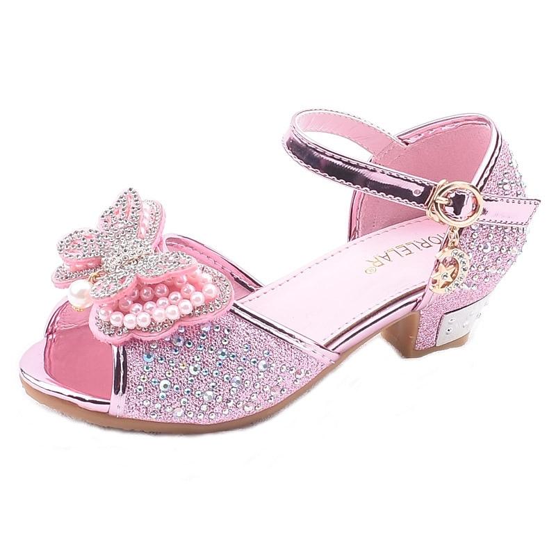 Little Girls Rhinestone Bow High-Heeled Sandals Princess Dancing Summer Pu Leather Shoe Big Girl 3 4 5 6 7 8 9 10 11 12 Year Old