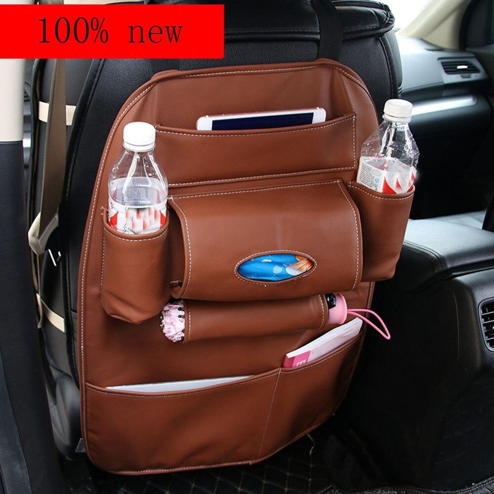 Car SUV Back Seat Tidy Organiser Multi-Pocket Leather Holder Pouch Storage Bag Universal