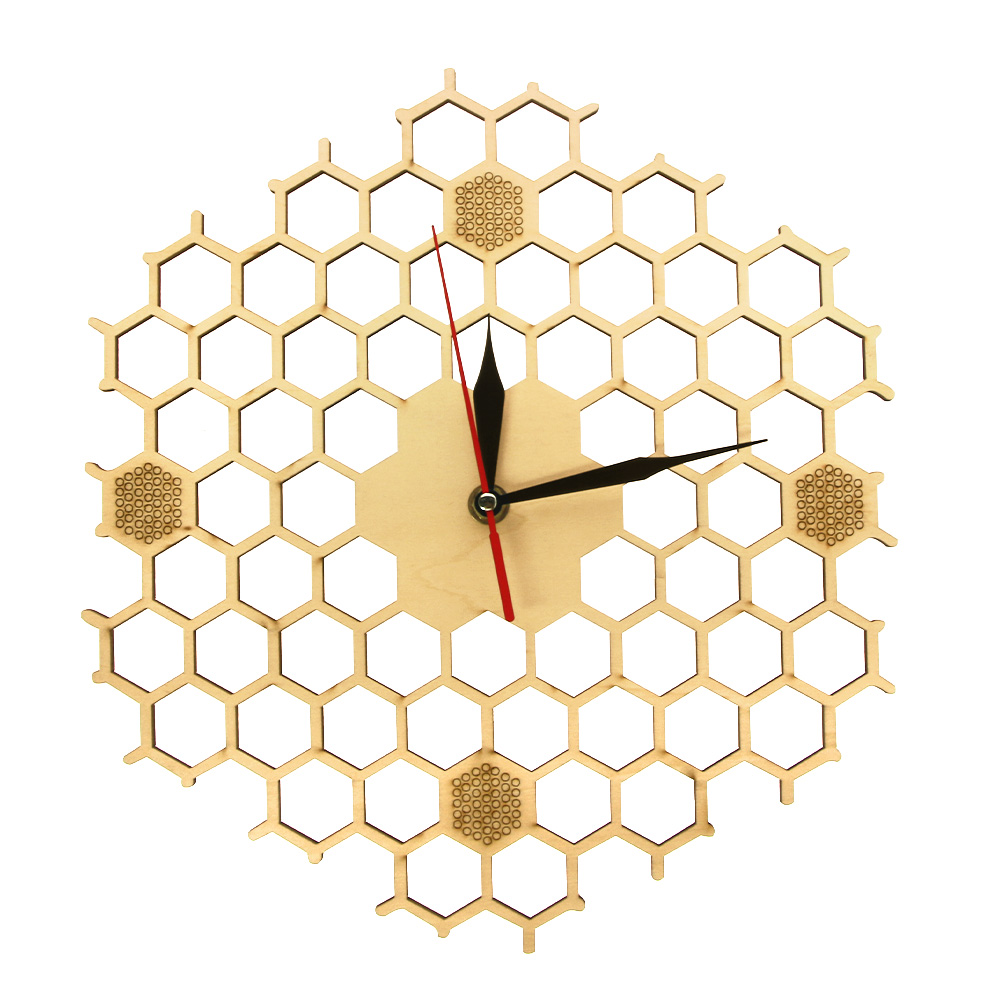 Honeycomb Inspired Wooden Wall Clock With Non Ticking Silent Sweep ...