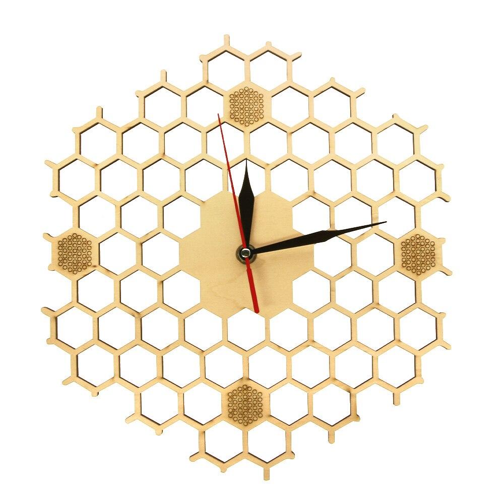 Honeycomb Inspiriert Holz Wanduhr Mit Nicht Tickt Stille Sweep Minimalis Uhr Hexagonal Küche Wand Dekor Bee Liebhaber Geschenk