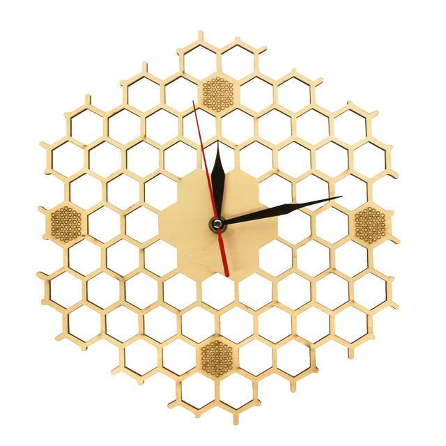 49f55e828da7 Panal inspirado Reloj de pared de madera con no Ticking barrido silencioso  reloj minimalista Hexagonal cocina