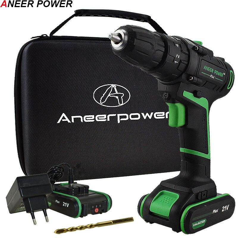 21 V nuevo estilo impacto taladro destornillador eléctrico Mano Eléctrica batería de Taladro Inalámbrico martillo perforador Diy herramientas + bolsa tejida