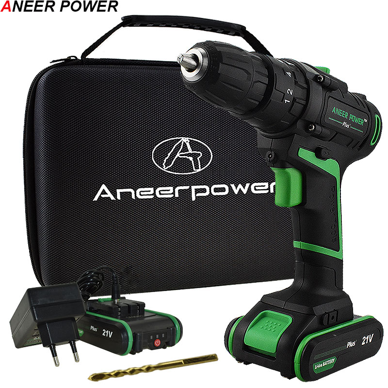 21V New Style Impact Drill Electric Screwdriver Electric Hand drill Battery Cordless Hammer Drill Home Diy Power Tools+Woven bag