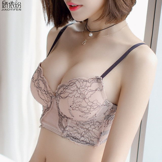 92d261ea29 JYF Sexy Women Five-row Bra Set Embroidery Lace Young Girl Underwear  Widened Cup Push Up Bra and Panty Lady Bra Brief Sets
