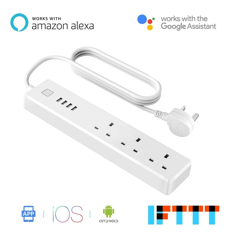 Smart Wi-Fi Parasurtenseur UK Plug Sockets 3 Prises CA 4 USB Port Puissance Bande Fonctionne avec Alexa Google Assistant et IFTTT