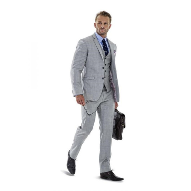 2015 Grey Forma Men business Suits men wedding Suits slim fit ...