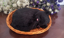 simulation breathing cat model large 26x17cm black sleeping cat with basket polyethylene & furs model decoration gift t428