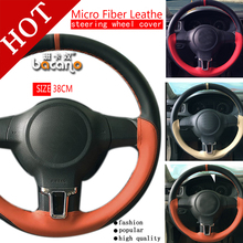 цена на New 38cm Genuine Leather Auto Car Steering Wheel Cover Soft Anti-slip Car Steering Cover Black Braid With Needles and Thread