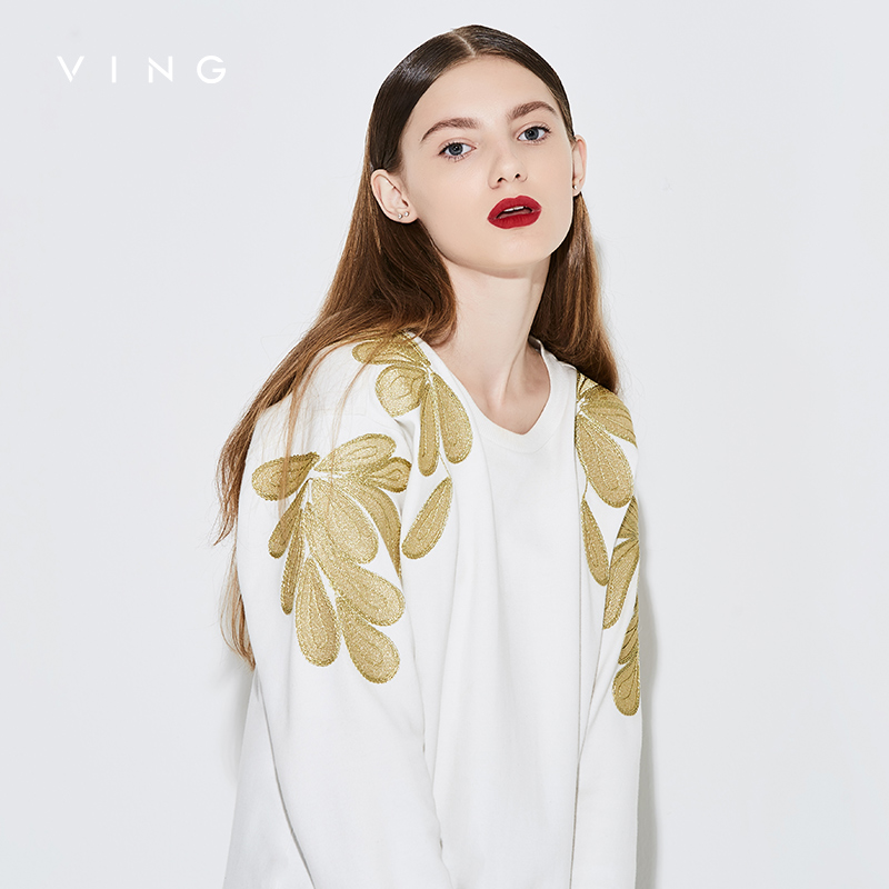 Ving Sweatshirt Women 2018 Autumn Fashion Floral Embroidery Pullover Hoodies Female O-Neck Long Sleeve Tracksuit