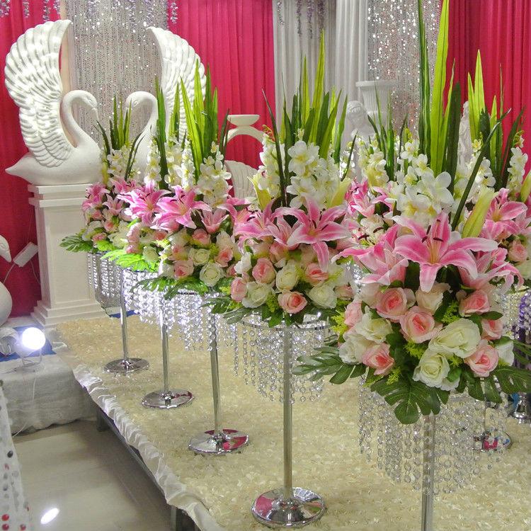 새로운 높이 70cm 27.5inch 화이트 핑크 블루 인공 장미 백합 꽃 결혼식 장식 중심 받침대 꽃-에서인공 & 건조 꽃부터 홈 & 가든 의  그룹 1