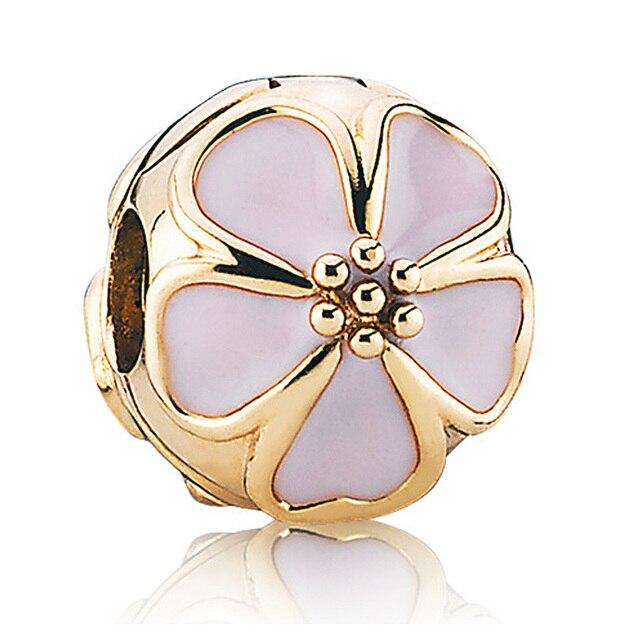 da8a82d00 Authentic 925 Sterling Silver Bead Charm fit Pandora Bracelet Bangle Cherry  Blossom Clip Charm, Pink Enamel Gold Colour