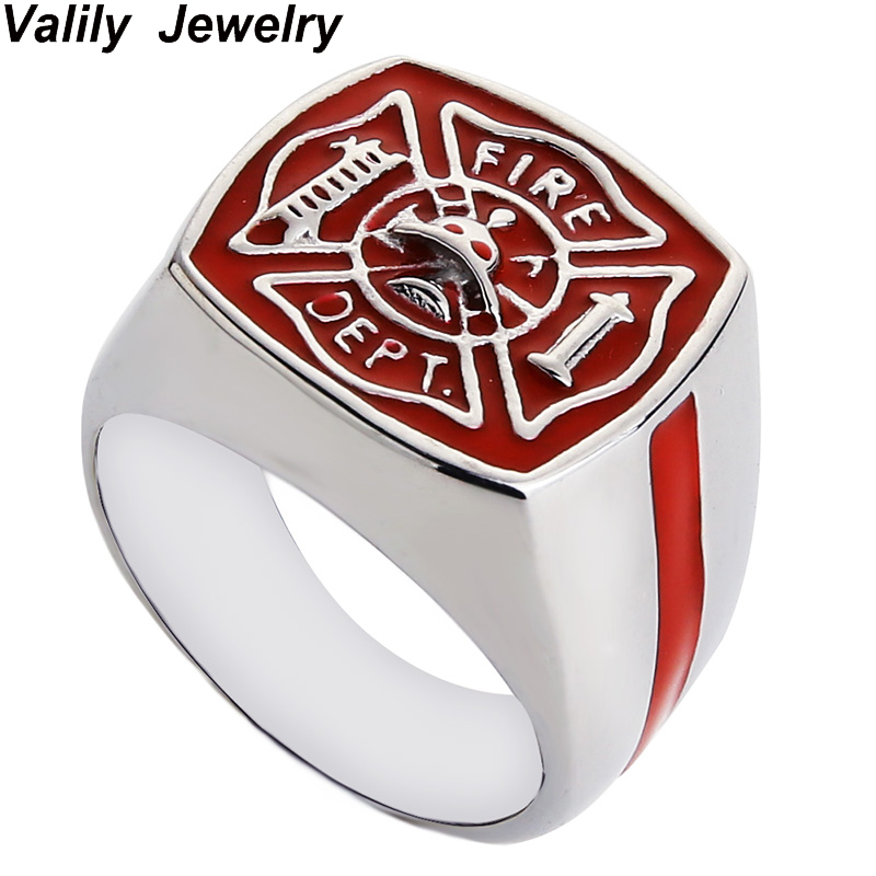 Valily Jewelry Mens Ring FIRE DEPT Design Ring Stainless Steel Fashion Red Enamel Rings Men Finger Band anillos Silver Black