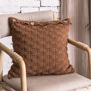 Coffee button knit cushion cover