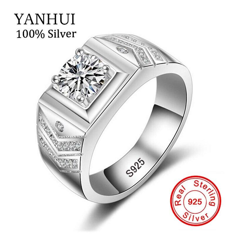 YANHUI Réel D'origine 925 Sterling Argent Anneaux Pour Les Hommes Anneau De Luxe CZ Diamant Vintage Mode Bijoux MJZ012