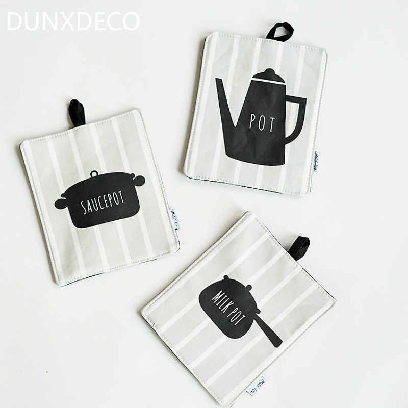 DUNXDECO Table Placemat Cup Pot Pad Mat Fashion Milk Tea Pot Sauce Print Linen Cotton Table Cover Kitchen Accessories Home Decor