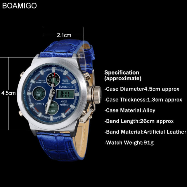 Boamigo watches men sports military watches Dual display Quartz Analog Digital LED nylon leather waterproof  wristwatches F517
