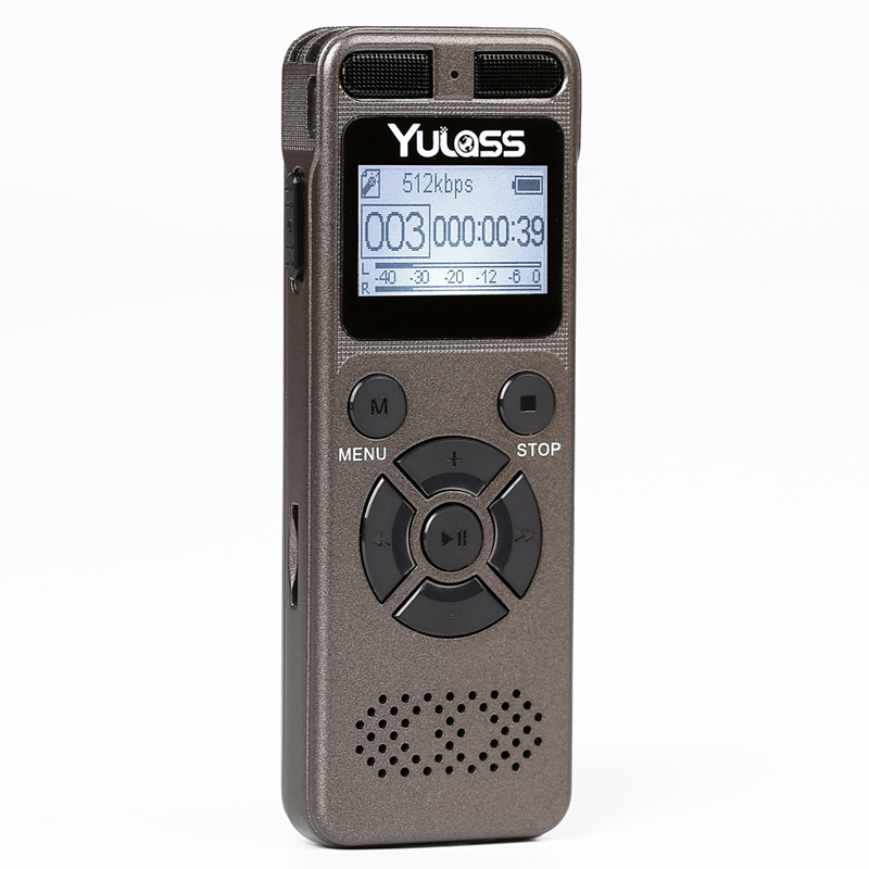 Yulass 8GB Grabadora de audio profesional Business Portable Grabadora de voz digital Soporte USB Multilenguaje, Tarjeta Tf a 64GB