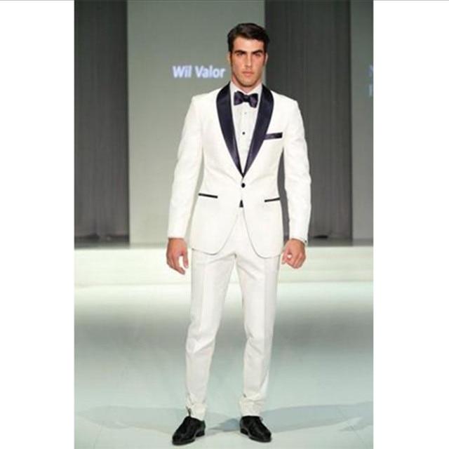 mens white wedding suit groom tuxedo blue collar for 2016 custom ...