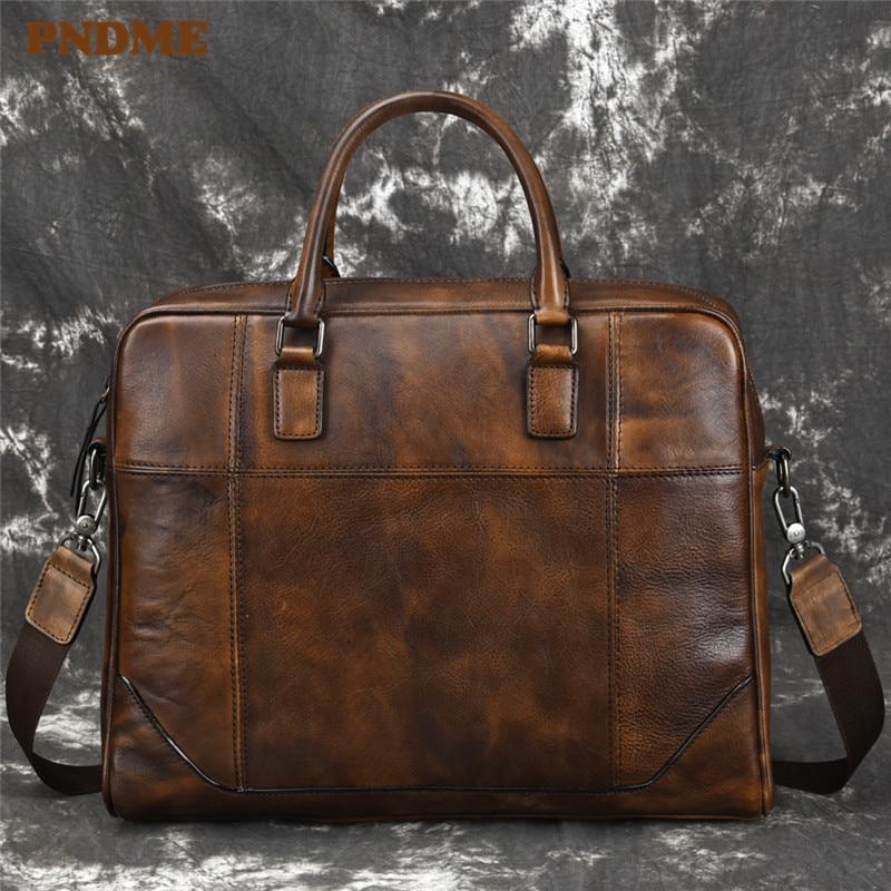 PNDME Vintage Simple High Quality Genuine Leather Men's Briefcase Cowhide Office 14 Inch Laptop Bag Big Business Messenger Bags