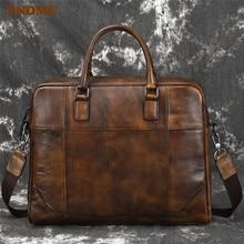 PNDME vintage simple high quality genuine leather men's briefcase cowhide office 14 inch laptop bag big business messenger bags цена в Москве и Питере