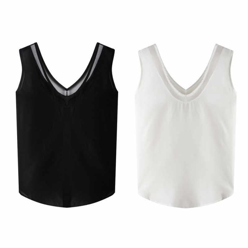 موضة المرأة الصيف الشيفون بلا أكمام الخامس الرقبة عادية أسود أبيض تانك بلوزة قمصان