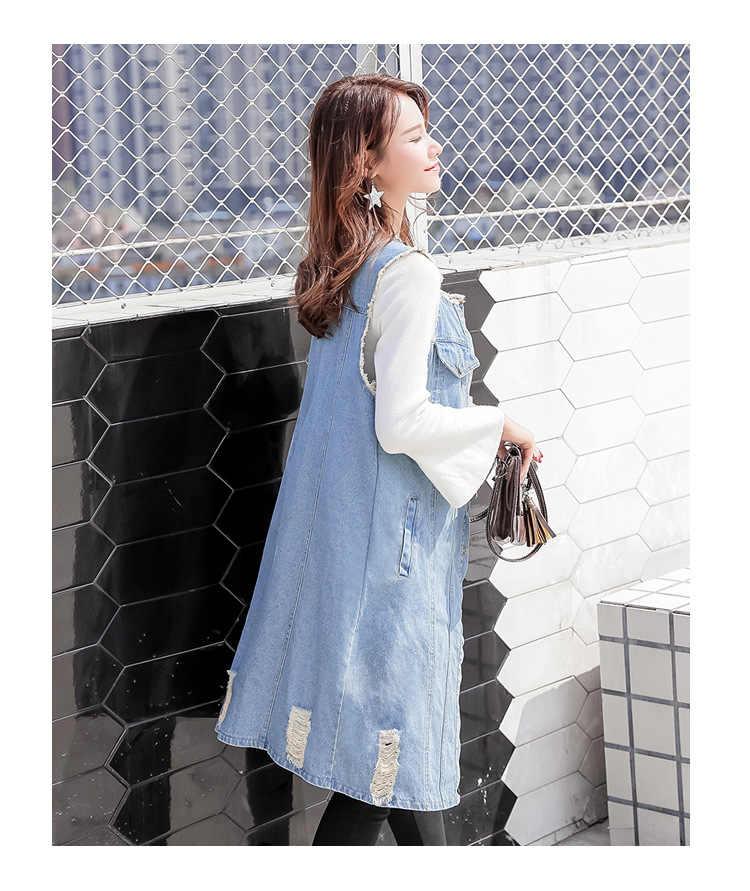 5XL Большие размеры майки из чистого хлопка для женщин с круглым вырезом винтажный синий джинсовый жилет длинный повседневный жакет без рукавов женский ковбойский жилет с отверстиями