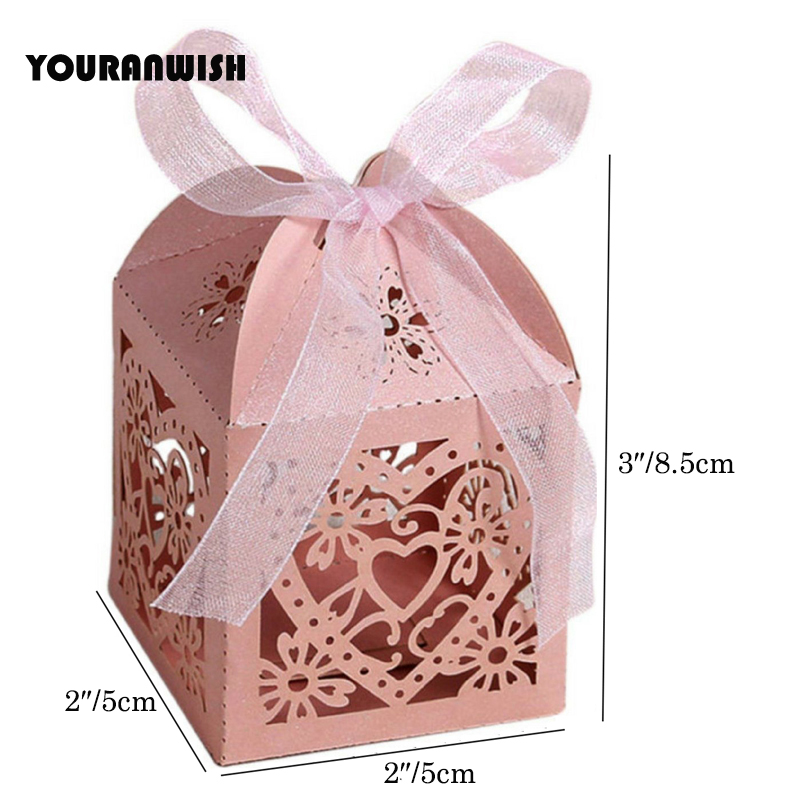 PACK OF 6. SMALL CREAM SPARKLE BUTTERFLY GIFT BOX GIFT BOXES