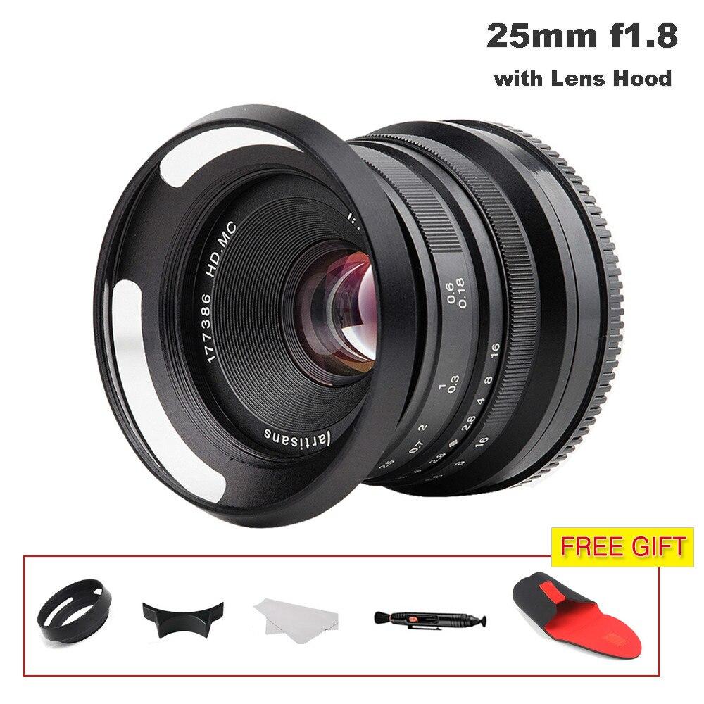 Objectif à grande ouverture 25mm/F1.8 pour toutes les séries sans miroir pour monture E/pour Micro 4/3 caméra A7II A7RIII X-A1 X-A2 GH5 M6 XE1 XH1