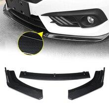 цены 3PCS Set Carbon Fiber Front Bumper Lip Body Kit Spoiler For Honda Civic Sedan 4Dr