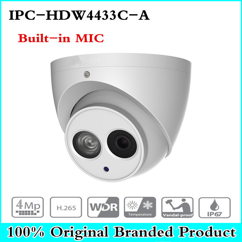 DH IPC-HDW4433C-A Upgrade From IPC-HDW4431C-A POE Network IR Mini Dome IP Camera With Built-in Micro 4MP CCTV Camera dahua 6mp ip camera ipc hdw4631c a poe network camera with built in micro upgrade model of 4mp camera ipc hdw4431c a