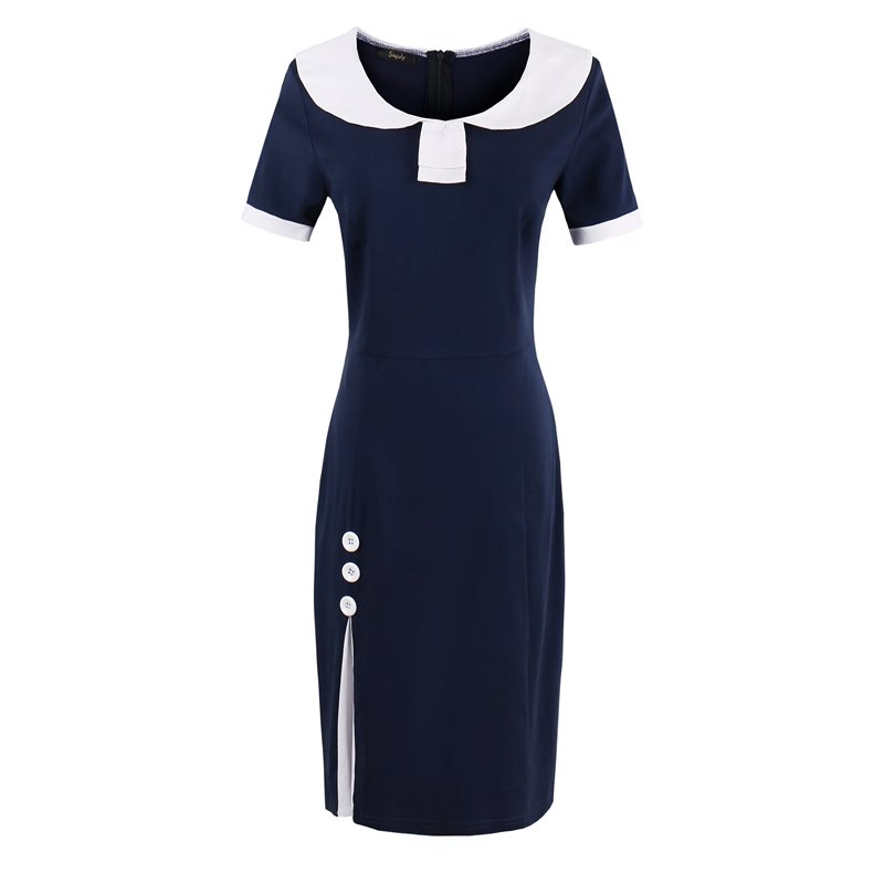 Office Elegant Brand Vintage <font><b>Bodycon</b></font> <font><b>Dress</b></font> Women <font><b>Sexy</b></font> Slim <font><b>Blue</b></font> Short Sleeve Simple Fashion Summer Female Casual Retro <font><b>Dresses</b></font> image