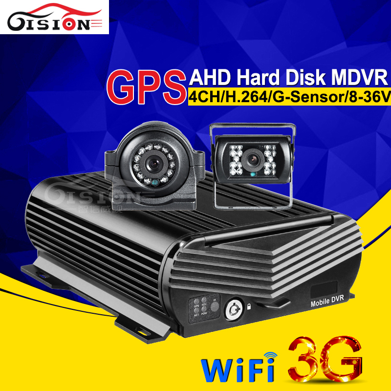 Free Shipping Hard Disk Car Dvr Kits H.264 Real Time Surveillance WIFI 3G GPS Tracker 2 Camera AHD MDvr Recorder Software Free