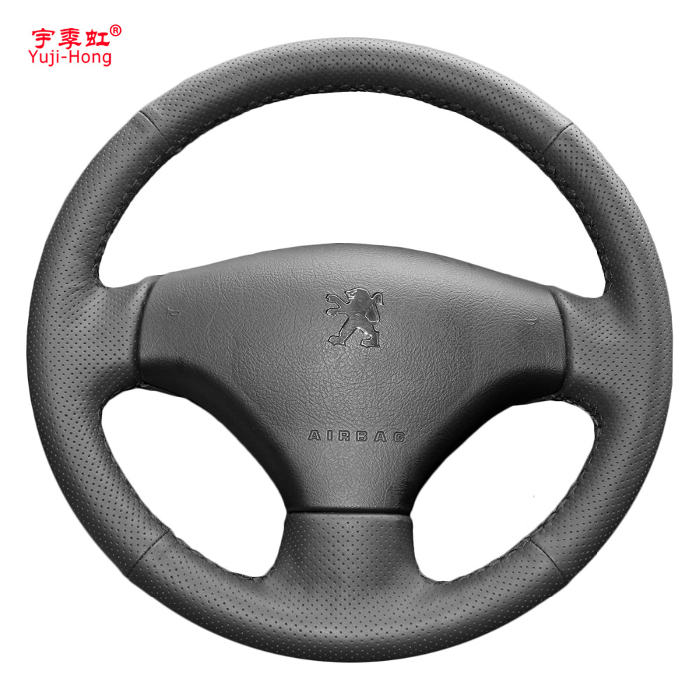 Yuji-Hong Artificial Leather Car <font><b>Steering</b></font> Coves Case for <font><b>Peugeot</b></font> 206 <font><b>207</b></font> Hand-stitched <font><b>Wheel</b></font> Cover image