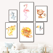 Baby Lion Elephant Flamingo Zebra Wall Art Canvas Painting Cartoon Nordic Posters And Prints Pictures For Kids Room Decor