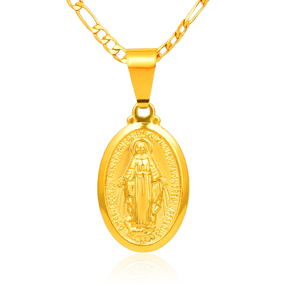 Hot Men Women Gold-color Catholic Religious Virgin Mary Pendant Necklace Jewelry