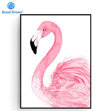 Фотография DIY Oil Painting Flamingo picture Hand Painted Christmas Crafts for Adults Paint by Number Kits on Canvas