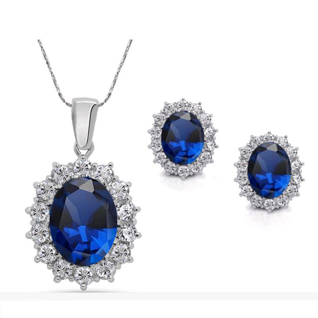 2016 Fashion Silver Blue Crystal Jewelry Sets Luxury Vintage Party Water Drop CZ Necklace&Earrings Fine Jewelry