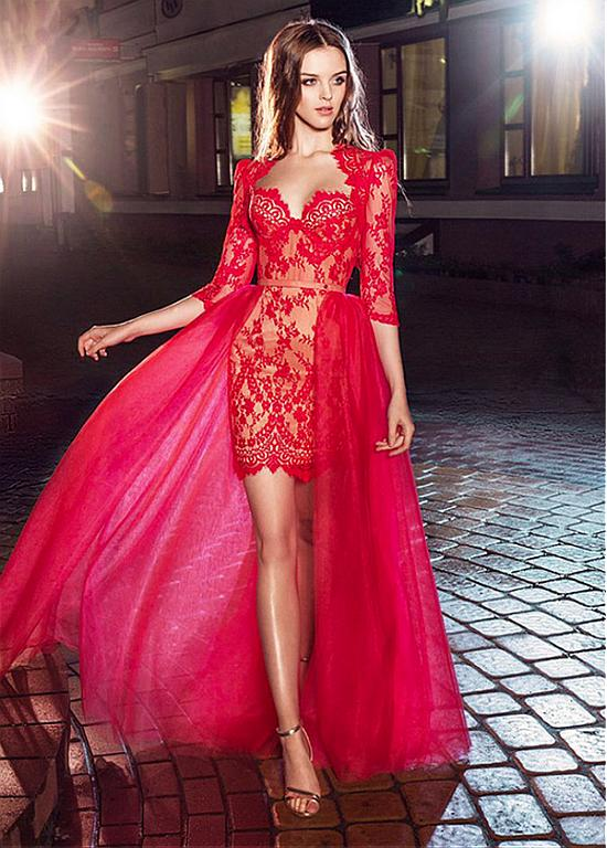 Sexy Red Lace High Low Evening Dresses Long 2019 with Detachable Skirt 3/4 Sleeve Two Piece Prom Dress Party Gowns Formal dress-in Evening Dresses from Weddings & Events    1