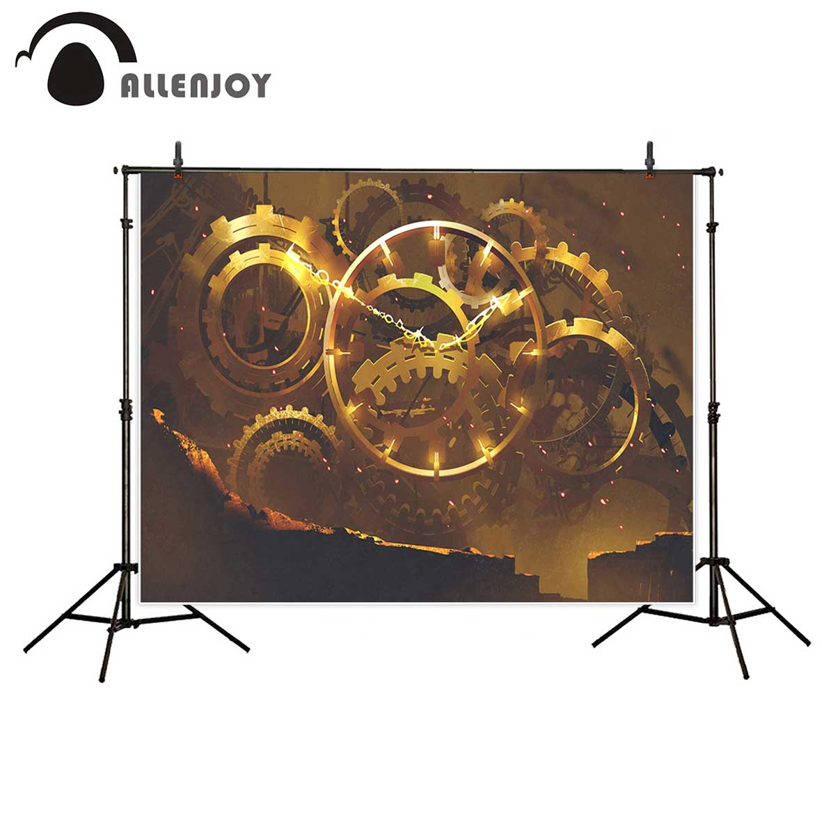 Allenjoy photography backdrops Golden Gear Clock Art Background backgrounds for photo studio vinyl backdrops for photography