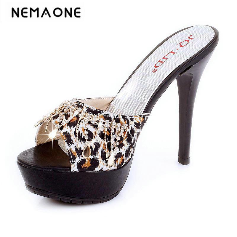 2017 New summer beige Black Rhinestone Fashion Sexy High Heel Platform Sandals Outside Female Womens sandals Lady Slippers qiu dong season with plush slippers female students in the summer of 2017 the new han edition joker fashion wears outside a word