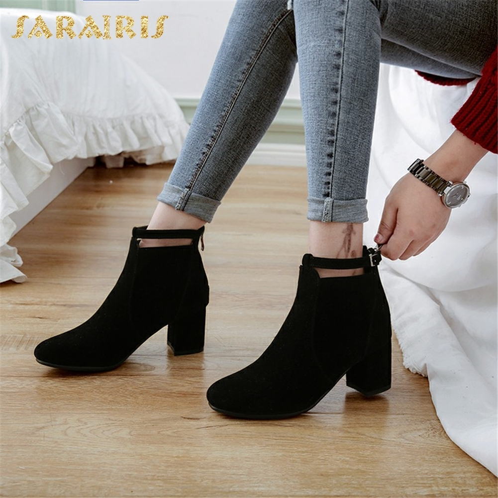SARAIRIS Large Size 33-43 2018 Fashion Solid Women Boots Woman Shoes Ankle Boots Zip Up Chunky High Heels Shoes Woman Booties sarairis 2018 spring autumn punk mixed color ankle boots lace up rivet colorful shoes woman short plush large size 33 43 lady